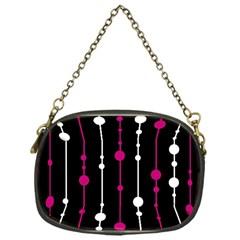 Magenta white and black pattern Chain Purses (One Side)