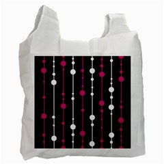 Magenta white and black pattern Recycle Bag (One Side)
