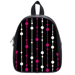 Magenta white and black pattern School Bags (Small)