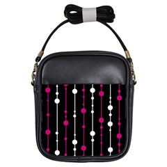 Magenta white and black pattern Girls Sling Bags