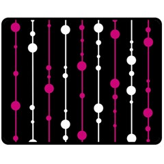 Magenta white and black pattern Fleece Blanket (Medium)