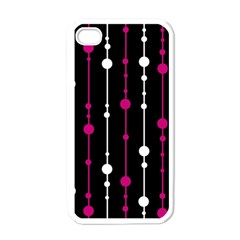 Magenta white and black pattern Apple iPhone 4 Case (White)