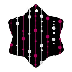 Magenta white and black pattern Snowflake Ornament (2-Side)