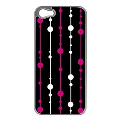 Magenta white and black pattern Apple iPhone 5 Case (Silver)