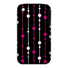 Magenta white and black pattern Apple iPhone 3G/3GS Hardshell Case (PC+Silicone)