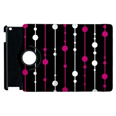 Magenta white and black pattern Apple iPad 3/4 Flip 360 Case