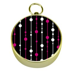 Magenta white and black pattern Gold Compasses