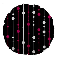 Magenta white and black pattern Large 18  Premium Flano Round Cushions