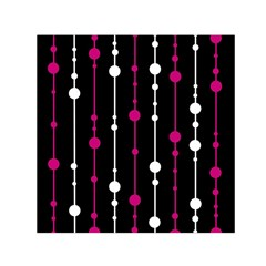 Magenta white and black pattern Small Satin Scarf (Square)