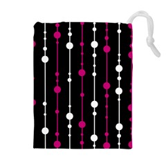 Magenta white and black pattern Drawstring Pouches (Extra Large)