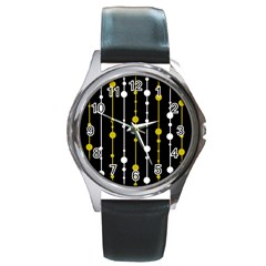 yellow, black and white pattern Round Metal Watch