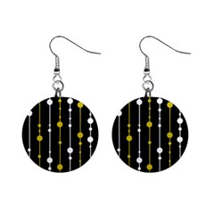 yellow, black and white pattern Mini Button Earrings