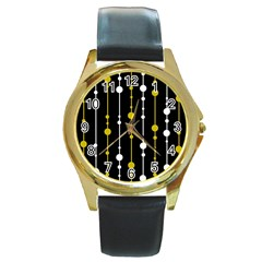 yellow, black and white pattern Round Gold Metal Watch
