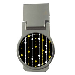 yellow, black and white pattern Money Clips (Round)