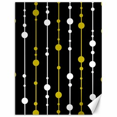 yellow, black and white pattern Canvas 12  x 16