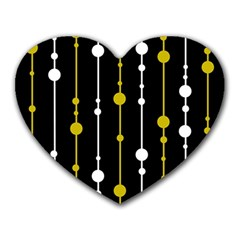 yellow, black and white pattern Heart Mousepads