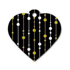 yellow, black and white pattern Dog Tag Heart (Two Sides)