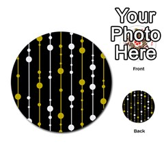 yellow, black and white pattern Multi-purpose Cards (Round)