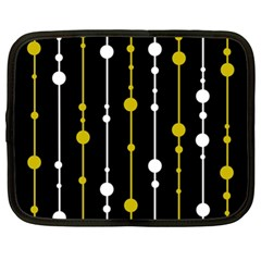 yellow, black and white pattern Netbook Case (XL)