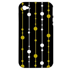 yellow, black and white pattern Apple iPhone 4/4S Hardshell Case (PC+Silicone)