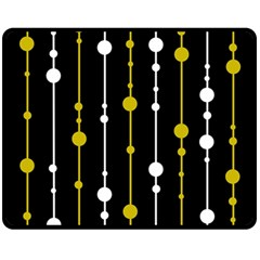 yellow, black and white pattern Double Sided Fleece Blanket (Medium)