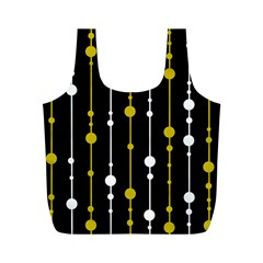 yellow, black and white pattern Full Print Recycle Bags (M)