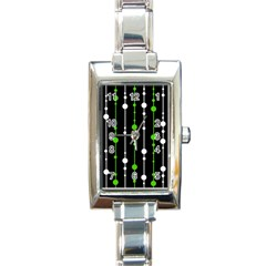 Green, white and black pattern Rectangle Italian Charm Watch