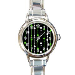 Green, white and black pattern Round Italian Charm Watch