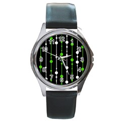 Green, white and black pattern Round Metal Watch