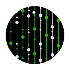 Green, white and black pattern Ornament (Round)