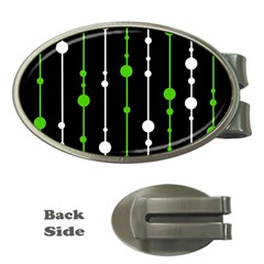 Green, white and black pattern Money Clips (Oval)
