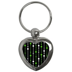 Green, white and black pattern Key Chains (Heart)
