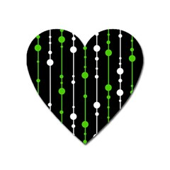 Green, white and black pattern Heart Magnet