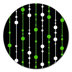 Green, white and black pattern Magnet 5  (Round)