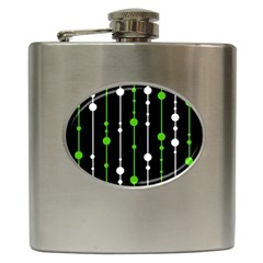 Green, white and black pattern Hip Flask (6 oz)