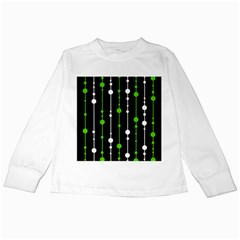 Green, white and black pattern Kids Long Sleeve T-Shirts