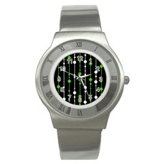Green, white and black pattern Stainless Steel Watch