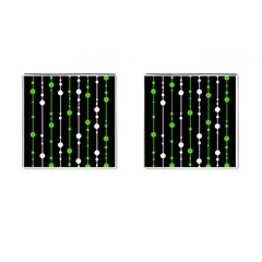 Green, white and black pattern Cufflinks (Square)