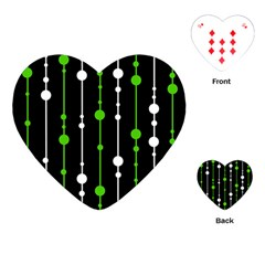 Green, white and black pattern Playing Cards (Heart)
