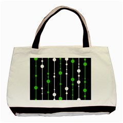 Green, White And Black Pattern Basic Tote Bag