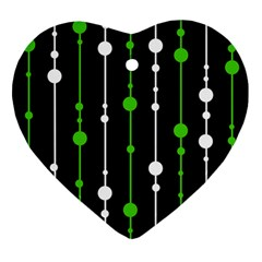 Green, white and black pattern Heart Ornament (2 Sides)