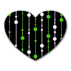 Green, white and black pattern Heart Mousepads