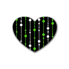 Green, white and black pattern Heart Coaster (4 pack)