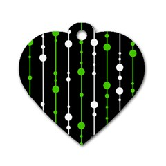 Green, white and black pattern Dog Tag Heart (Two Sides)
