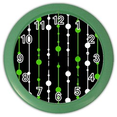 Green, white and black pattern Color Wall Clocks
