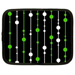 Green, white and black pattern Netbook Case (Large)