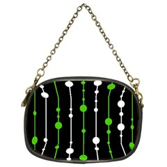 Green, white and black pattern Chain Purses (One Side)