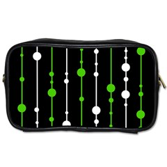 Green, white and black pattern Toiletries Bags