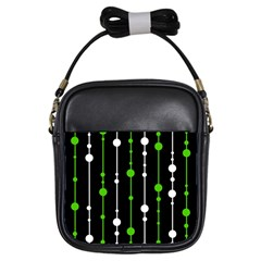 Green, white and black pattern Girls Sling Bags