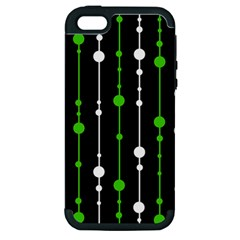 Green, white and black pattern Apple iPhone 5 Hardshell Case (PC+Silicone)